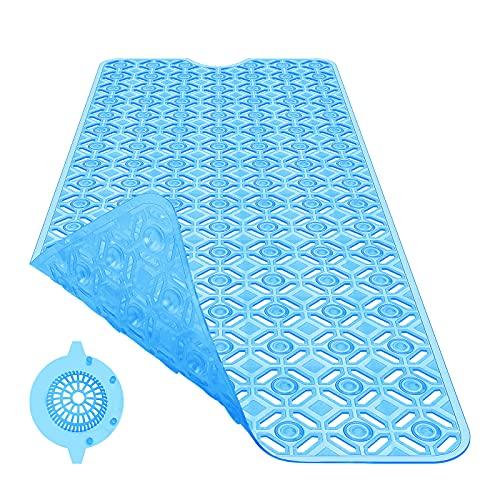 Badewannenmatte rutschfest Antirutschmatte Badewanne Badematte Duschmatte Lang 88x38 cm BPA Frei Badewanneneinlage mit Badewannen-Abflusssieb für Kinder Baby und Bathtub| Blau