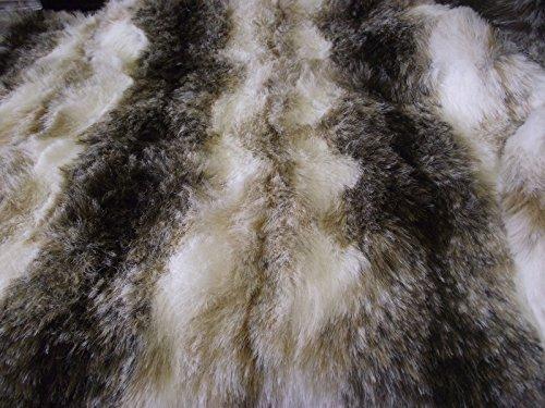 CRS Fur Fabrics Tier Kunstfell Stoff Material Braun & Weiß Wolf