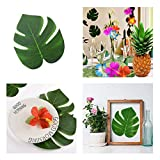 DELSEN 24 Stück Medium Künstlich Tropische Blätter gefälschte Palmblatt Palme Monstera für Hawaiian Luau Jungle Beach Theme Party Dekorationen(20 x 17,5cm) - 4