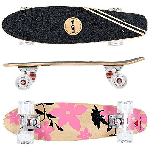 FunTomia Mini-Board Cruiser Skateboard 57cm aus 7-lagigem kanadischem Ahornholz inkl. Mach1 ABEC-11 Kugellager - mit oder Ohne LED Rollen