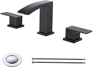KES 2-handle 8 Inch WidespreadBathroom Sink Waterfall Faucet Lavatory Vanity Brass Faucet Lead Free with Supply Lines and Drain Assembly, Oil Rubbed Bronze L4311LF-ORB