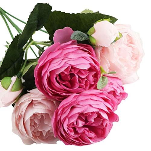 Pinke Rose Künstliche Blumen Kunstblumen Unechte Deko 5 Köpfe Braut Hochzeitsblumenstrauß Home Garten Party Blumenschmuck Blumen Bouquet Cafe Esstisch Deko Blumen Halten