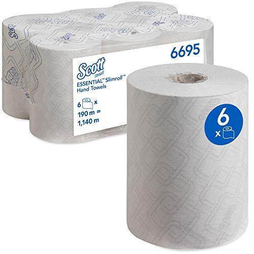 Scott Essential Slimroll 6695 Toallas secamanos en rollo, 1 capa, Blanco, 6 rollos x 190 m