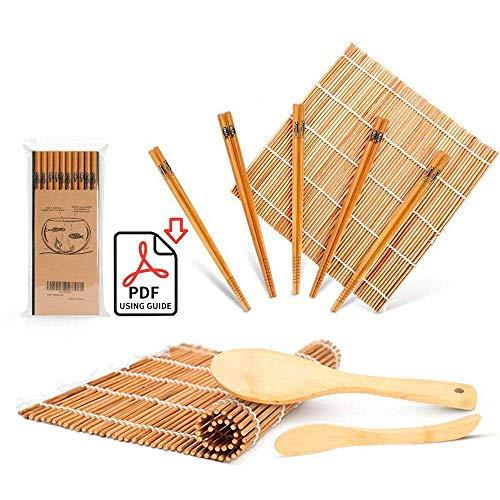 Sushi Making Kit, Delamu Bamboo Sushi Mat, Including 2 Sushi Rolling Mats, 5 Pairs of Chopsticks, 1 Paddle, 1 Spreader, 1 Beginner Guide PDF, Roll On, Beginner Sushi Kit
