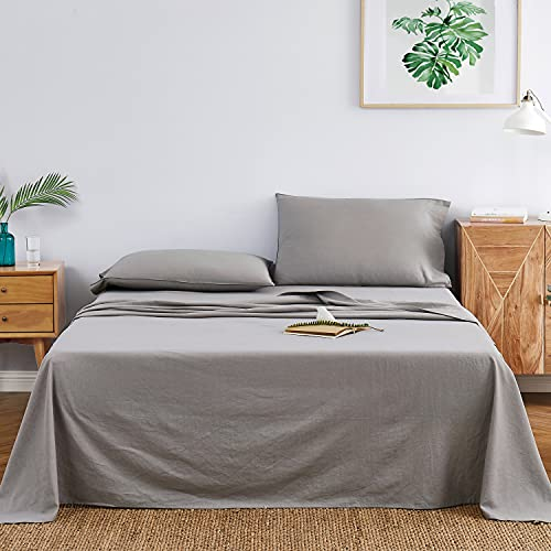 DAPU Linen Cotton Sheets Set 55% French Linen 45% Long-Staple Cotton (Gray/Linen Cotton, Queen, Flat, Fitted and 2 Pillowcases)