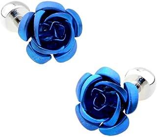 زوج أزرار أكمام أزرق من زهور الورد من MRCUFF في صندوق هدايا مع قطعة قماش تلميع