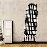 Modeganqingg Papel Tapiz clásico Torre Inclinada de Pisa, Vinilo, Utilizado para la decoración de la Sala de Estar Dormitorio calcomanía de Pared Accesorios Papel Tapiz Negro XL 58 cm X 138 cm