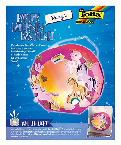 folia 68106 - Laternen - Bastelset, Ponys, inklusive Laternenstab und LED-Licht