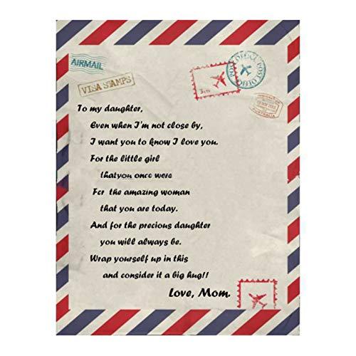 ZEFAN Cobertor de flanela, colcha com letras impressas, presente de energia positiva para filha da mãe
