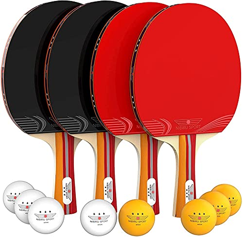 Nibiru Sport Ping Pong Paddle Set of 4 - Table Tennis Rackets, 8 Balls, Storage Case - Pingpong Paddles & Game...