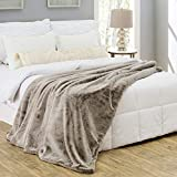 Silver Fern Premium Double-Sided Faux Fur Throw Blanket - Large: 50x60 Inches, Tan Coyote - Plush Velvety Soft Minky Material - Luxury Softness & Warmth - Machine Washable