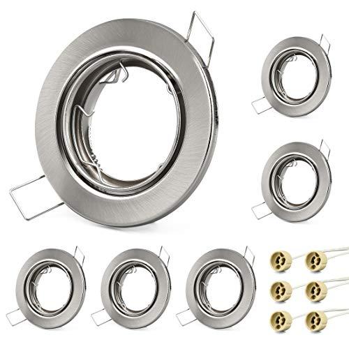 KYOTECH Einbauleuchten Rahmen GU10 6er Set Led Spot Einbaurahmen Schwenkbar Rund Nickel gebürstet, Einbauspots Einbauleuchten für Halogen Leuchtmittel LED-Modul MR16, inkl. GU10 Fassung für 230V