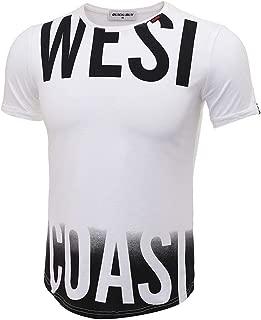 Kui Bai Mens West Coast Hipster Hip Hop Round Hemline Crewneck T-Shirt