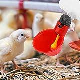 PETAMANIM 10 Stücke Automatische Huhn Trinkbrunnen Geflügel Bewässerung Tassen Schalen Dispenser Rot Kunststoff Hinterhöfe Huhn Flock Ente Vogel Wasser Feeder für Tauben Wachtel Henne Truthähne Gänse