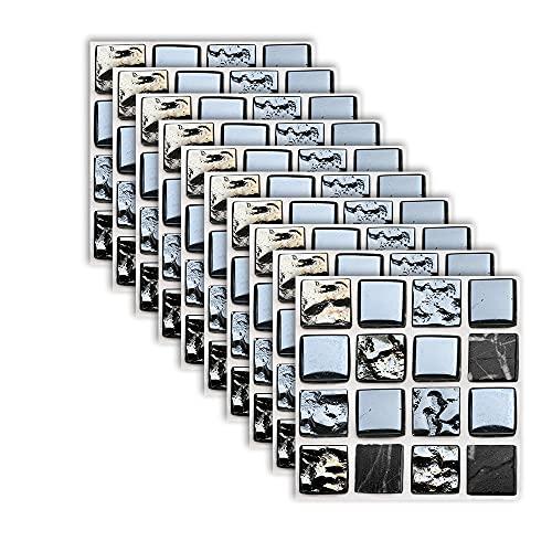 Fawyhr 10 unids Mosaico Mosaico Mosaico Pegatina de pared Traslados Planos 2D Cubiertas impresas para la cocina Baño Decoración para el hogar Prueba de petróleo Tecalas de pared Hermosa Casa