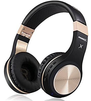 Bluetooth Headphones, Riwbox XBT-80 Wireless foldable Headset Over Ear Bluetooth headphones with Microphone and Volume Control for Cellphones iPad iPhone TV Laptop Computer (Black&Gold) from Riwbox