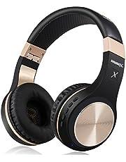Bluetooth-hörlurar, Riwbox XBT-80 vikbara stereo trådlösa Bluetooth-hörlurar över örat med mikrofon och volymkontroll, trådlösa och trådbundna hörlurar för PC/mobiltelefoner/TV/iPad Svartochguld