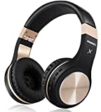 Bluetooth Headphones, Riwbox XBT-80 Folding Stereo Wireless Bluetooth Headphones Over Ear with Microphone and Volume Control, Wireless and Wired Headset for PC/Cell Phones/TV/ipad (Black Gold)