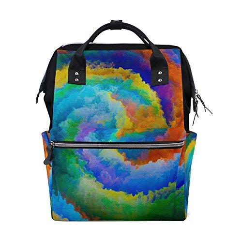 Ahomy - Mochila de senderismo impermeable para escuela, colorida, para hombre y mujer, diseño de nebulosa