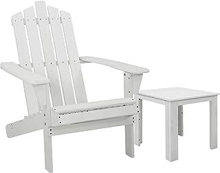 Gardeon Patio Outdoor Furniture Beach Chair Wooden Chairs Table Adirondack Indoor Garden-White