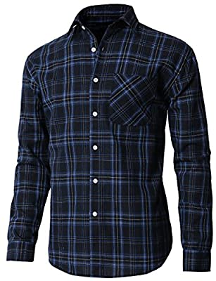 H2H Mens Casual Slim Fit Thermal Button-down Check Patterned Shirts With Pocket