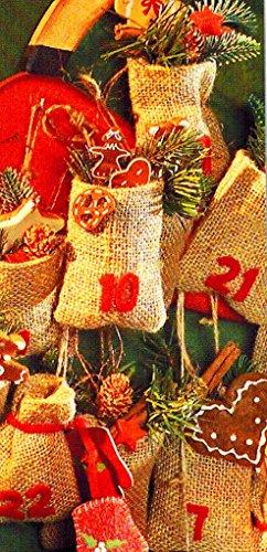24 x Jute-Säckchen für Adventskalender mit Ziehband (11 x 15 cm/natur)