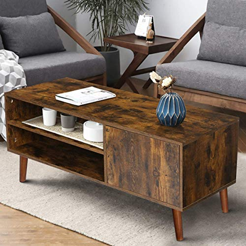 KINGSO-Retro-Coffee-Table-Mid-Century-Modern-TV-Stand-with-Storage-Shelf-for-Living-Room-Vintage-Coffee-Table-TV-Table-Sofa-Table-Easy-Assembly-Wood-Look-Furniture-Rustic-Brown