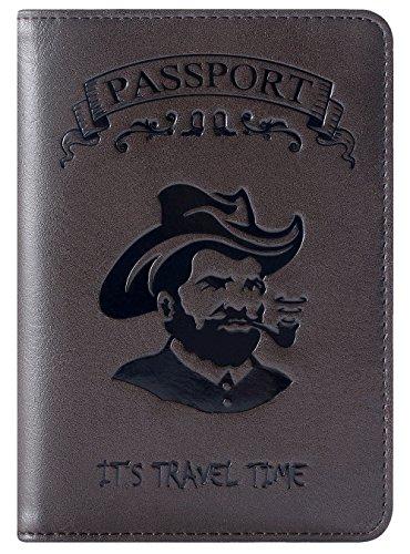 Passport Holder Cover Wallet RFID Blocking Leather Card Case Travel Accessories for Men Women (Deep caffeine-I)