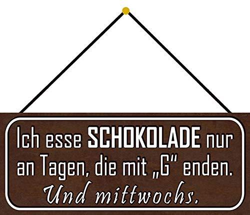FS chocolade op dagen met G metalen bord bordje gewelfd Metal Sign 10 x 27 cm met koord