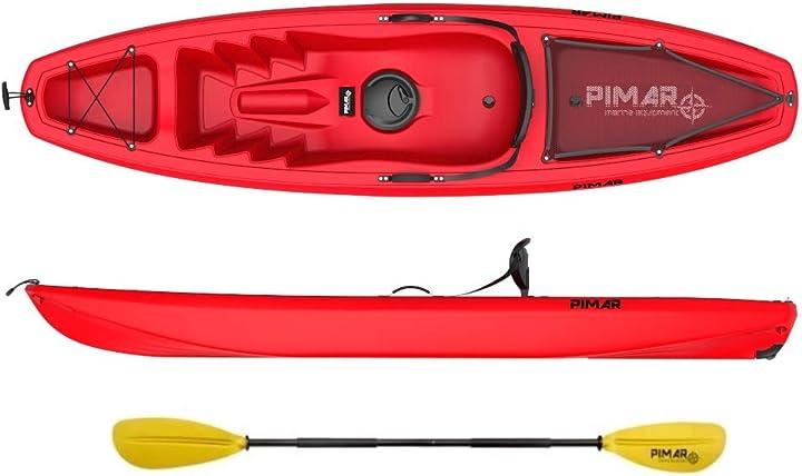 Kayak canoa pimar 10003 da 266 cm + 1gavone + 1 pagaia + 1 seggiolino + 1 ruotino nautica pimar B07V6KK1GL