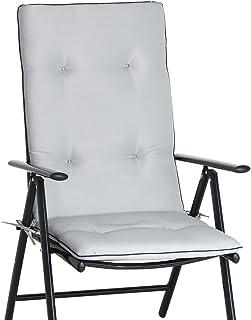 Detex 6X Cojines con repaldo Gris para sillas de jardín Almohadillas Acolchadas para Asiento Repelente al Agua