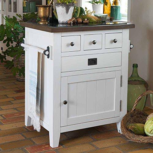 Pharao24 Kommode in Weiß Braun massiv Küche