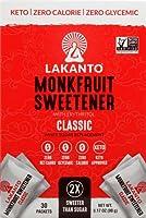 Lakanto Monkfruit Sweetener, 30 Stick Packs - Classic by Celtic Sea Salt