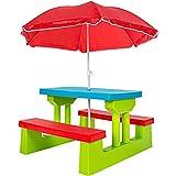 TecTake Ensemble de Jardin pour Enfant 2 bancs Parasol Table d'activité