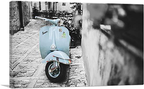 """ARTCANVAS Baby Blue Vespa Scooter in Italy Canvas Art Print - 12"""" x 8"""" (0.75"""" Deep)"""