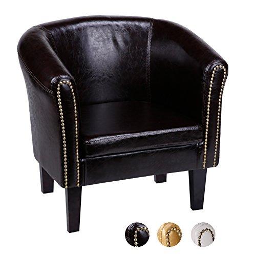 CCLIFE Chesterfield Sessel Loungesessel mit Hocker Clubsessel Cocktailsessel Ledersessel Braun/Weiss/Gold, Farbe:Braun