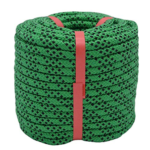 "YUZENET Braided Polyester Arborist Rigging Rope (3/8"" X 50') Strong Pulling Rope for Climbing Sailing Camping Swings,Green/Black"