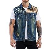 Mens American Flag Blue Denim Vest Button Down Heavy Duty Sleeveless Jean Jacket ( Big Tall M )