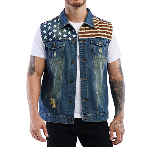 Mens American Flag Ripped Hole Blue Denim Vest Heavy Duty Sleeveless Jean Jacket ( Big Tall S )