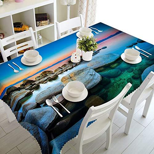 XXDD Mantel 3D de Estilo Antiguo, patrón de Paisaje de Bosque de Sol, Mantel Rectangular de algodón Grueso, Mantel Decorativo A5 135x135cm