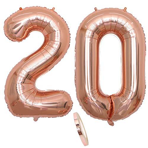 2 Ballons Numéro 20, Numéro 20 Ballon Anniversaire Or Rose Fille,40 Pouces Figurines Ballon Gonflable Hélium Feuille Chiffres,Ballon Géant Pour La Décoration De Fête D'anniversaire, Prom (XXXL 100cm)