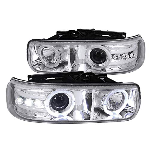 Spec-D Tuning Dual Halo Rim Chrome Housing Clear Lens Projector Led Headlights for 1999-2002 Chevy Silverado Head Light Assembly Left + Right Pair