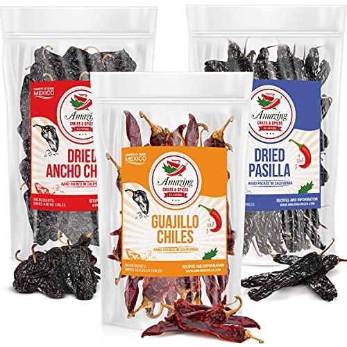 Dried Chili Pepper Variety Pack 5oz Each - Ancho, Guajillo, Pasilla Chiles