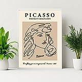 laminas para cuadrosArte de pared de líneas abstractas de Picasso Poster de paloma con cara de mujer famosa exposición pinturas en lienzo impresiones Decoracion de Cuadros Retro60x90cm x1 Sin Marco