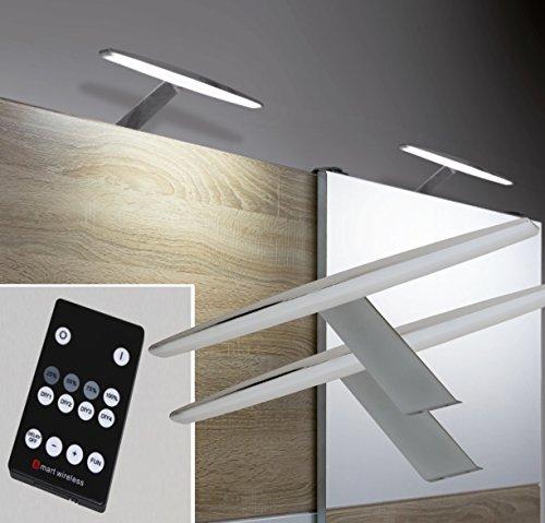 LED Aufbauleuchten 2-er Set Dimmbar + Fernbedienung warm weiß /2400-2/4154möb/ Chrom Schrankleuchten Möbelbeleuchtung