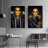 """キャンバスに絵を描くアフリカンアートブラックゴールドの女性のプリントとポスターリビングルームの家の装飾のためのアートウォールの写真-70x90cm / 27.6""""x35.4"""" X2 フレームなし"""