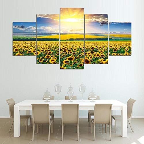 Kunstdruk Op Canvas Hd-Afbeeldingen Frameloze Zonnebloem Landschapsschilderkunst Woondecoratie Canvas Spuiten Olieverfschilderij Muurschildering