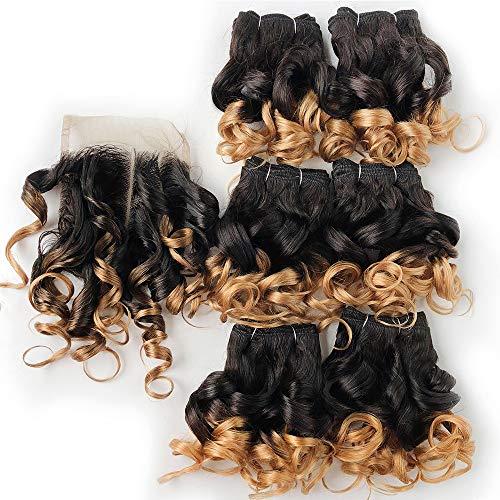 Amiao 6 Pcs/Lot Bundles De Cheveux Funmi avec Fermeture Bundles De Tissage De Cheveux Bouclés Brésiliens avec Fermeture 4 * 4 1B 27# 4 30 99J Cheveux Ombre
