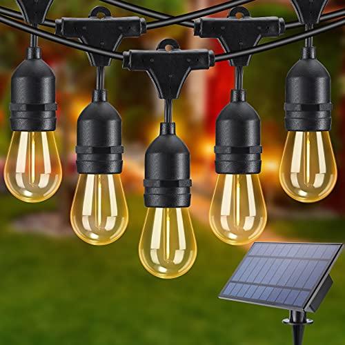 Joomer Solar Lichterkette Außen, S14 15M Lichterkette Glühbirne mit 15+1 Hängenden Sockel LED Birnen, Warmweiß 2700K Beleuchtung Wasserdicht für Garten, Terrasse, Bäume, Haus Party Deko