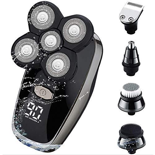 Rasierer Herren Elektrisch, CreBeau Glatzen Rasierer LED Display Nasenhaarschneider Kotelettenschneider Gesichtsreinigungsbürste Nass Trockenrasierer Wasserdicht, 5 IN 1 Rotationsrasierer Männer